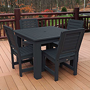 Highwood® Synthetic Wood 5-pc Dining Set w/ Weatherly Dining Chairs, Black