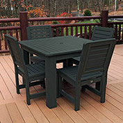 Highwood® Synthetic Wood 5-pc Dining Set, w/ Weatherly Dining Chairs, Charleston Green