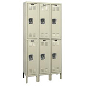 Hallowell U3228-2G-PT Knock-Down Corrosion Resistant Locker Double Tier 3 Wide - 12x12x39