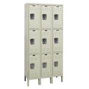 Hallowell U3258-3G-PT Knock-Down Corrosion Resistant Locker Triple Tier 3 Wide - 12x15x26