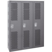 Hallowell HWBA282-111HG Welded Single-Point Ventilated Locker Single Tier 3 Wide - 12x18x72