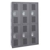 Hallowell HWBA882-222HG Welded Double-Point Ventilated Locker Double Tier 3 Wide - 18x18x72