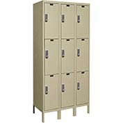 Hallowell UEL3288-3PT Knock-Down Electronic Access Locker Triple Tier 3 Wide - 12x18x26