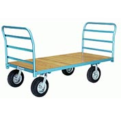 Hamilton® Platform Truck 36 x 60 Wood Deck - Pneumatic Wheels 2000 Lb. Cap. Double Handle