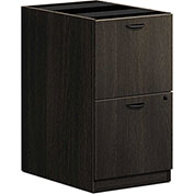"basyx® by HON® BL Series 15-5/8""W Laminate Pedestal File with 2 File Drawers Espresso"