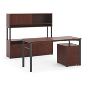 basyx® by HON® Executive Desk with Credenza & Hutch - Chestnut - Manage Series