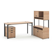 basyx® by HON® Manage L-Workstation Desk File Center Pedestal Wheat