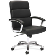 basyx® by HON® Executive Chair with Loop Arms - High Back - Leather - Black