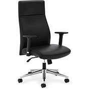 basyx® by HON® SofThread Leather Executive High-Back Chair with Adjustable Arms Black