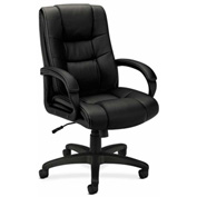 basyx® by HON® Executive Office Chair with Loop Arms - Vinyl -  High Back - Black