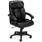 basyx® by HON® Executive Office Chair with Padded Loop Arms - Vinyl -  High Back - Black