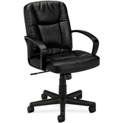 basyx® by HON® Manager's Chair with Loop Arms - Leather -  High Back - Black