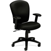 basyx® by HON® HVL200 Series Adjustable Arm Mid-Back Task Chair Black Polyester