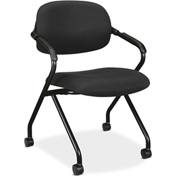 basyx® by HON® Nesting Chair with Casters - Fabric -  Black