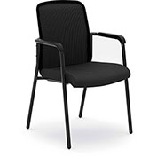 basyx® by HON® Stack Chair with Arms and Mesh Fabric - Black