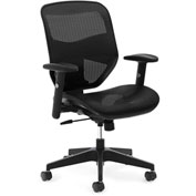 basyx® by HON® Mesh High-Back Task Chair with Center-Tilt & Adjustable Arms Black