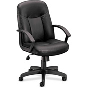 basyx® by HON® HVL600 Series Fixed Loop Arm High-Back Executive Chair Black Leather