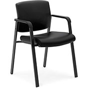 basyx® by HON® SofThread Leather Executive Guest Chair Black