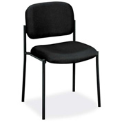 basyx® by HON® Stacking Armless Guest Chair - Fabric - Black
