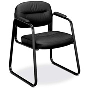 basyx® by HON® Guest Chair with Sled Base - Leather - Black