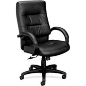 basyx® by HON® HVL690 Series Fixed Arm High-Back Executive Chair Black Leather
