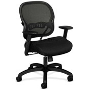 basyx® by HON® Manager's  Task Chair with Mesh Back -  Leather - Black