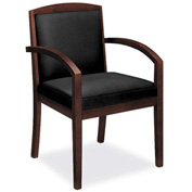 basyx® by HON® Guest Chair with Mahogany Frame - Leather - Black