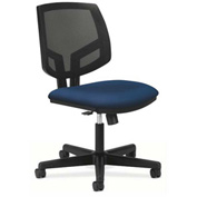 HON® Armless Task Chair with Mesh Back & Synchro Tilt - Fabric - Low Back - Black - Volt Series