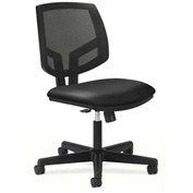 HON® Armless Task Chair with Mesh Back & Synchro Tilt - Fabric - Low Back - Navy - Volt Series