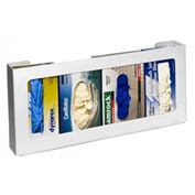 "Horizon Mfg. Quadruple Top Loading Horizontal Plastic Glove Box Dispenser, 11""H x 20""W x 4""D"