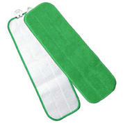 "Microworks 18"" Touch Fasteners Flat Wet Mop, Green - 2504-MFFP-18G - Pkg Qty 12"