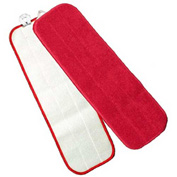 "Microworks 18"" Touch Fasteners Flat Wet Mop, Red - 2504-MFFP-18R - Pkg Qty 12"