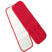 """Microworks 24"""" Touch Fasteners Flat Wet Mop, Red - 2504-MFFP-24R - Pkg Qty 12"""