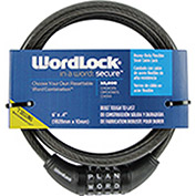 "Howard Berger Wordlock Combination Cable Lock CL-422-BK - 72""L Resettable 4-Dial, Black - Pkg Qty 4"