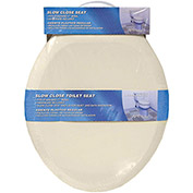 AquaPlumb® CSC90B Round Plastic Slow Close Toilet Seat W/ Cover, Bone