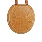AquaPlumb® CTS100OAKP Round Wood Toilet Seat with Plastic Hinge W/ Cover, Oak