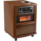 Comfort Zone® Premium Infrared Heater Wood Cabinet CZ2062W Walnut W/ Remote 750/1500W 5120 BTU
