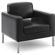 basyx® by HON® Reception Club Chair - Leather - Black