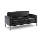 basyx® by HON® Sofa for Two - Black SofThread Leather