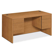 "HON® 10500 Series Double Pedestal Desk 60""W x 30""D x 29-1/2""H Rectangle Top Harvest"