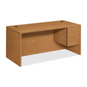 "HON® Wood Desk - Single Right Pedestal - 66"" - Harvest - 10500 Series"