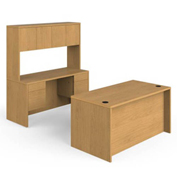 "HON® Wood Desk with Credenza and Hutch - 60"" - Harvest - 10500 Series"