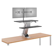 HON® Directional Desktop Sit-to-Stand Riser with Dual Monitor Arm - Silver/Black