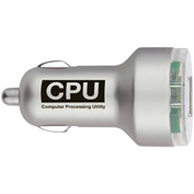 Custom Cell Phone Chargers - Dual USB Car Charger, Silver