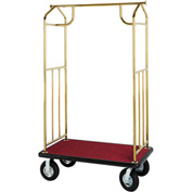 Hospitality 1 Source Brass Transporter Bellman Cart, Straight Uprights, Black Carpet, Gray Bumper