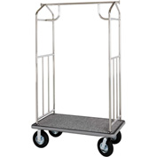 Hospitality 1 Source Chrome Transporter Bellman Cart, Straight Uprights, Black Carpet, Gray Bumper