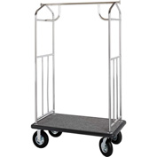 Hospitality 1 Source Steel Transporter Bellman Cart, Straight Uprights, Burgundy Carpet, Gray Bumper