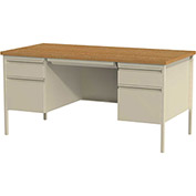 "Hirsh Industries® - HL10000 Series Double Hanging Pedestal Steel Desk 30"" x 60"" Putty/Oak"