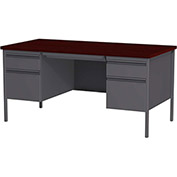 "Hirsh Industries® HL10000 Series Double Hanging Pedestal Steel Desk 30"" x 60"" Charcoal/Mahogany"