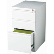 "Hirsh Industries® 20"" Deep Box/Box/File Mobile Pedestal - White"